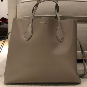 Rochas Beige Polished Leather Tote Bag